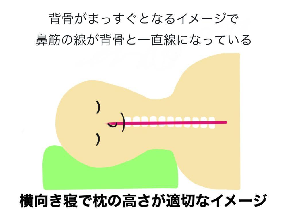 横向き寝の適切な高さのイメージ