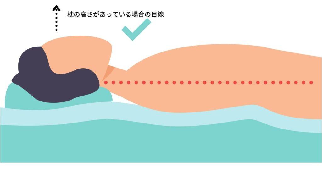 正しい高さの枕の目線